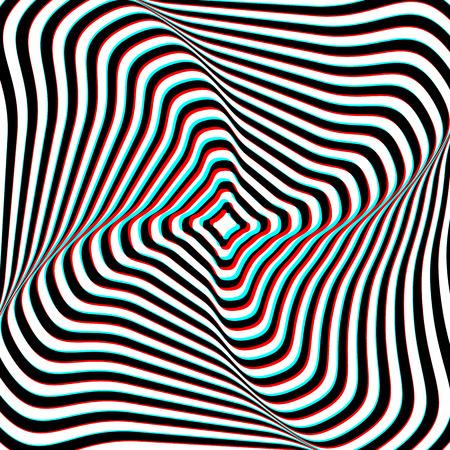 Optical Illusion - Anaglyph Opt Art Illustration