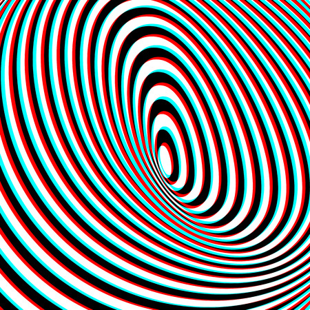 Optical Illusion - Anaglyph Opt Art Illustration Vector