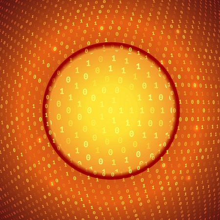 Abstract Yellow Glass Circle on Conceptual Binary Background Vector