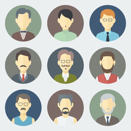 Colorful Male Faces Circle Icons Set in Trendy Flat Style Vector