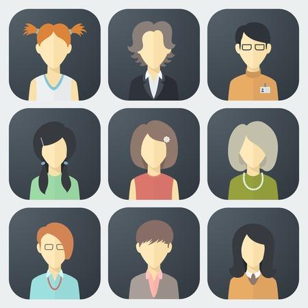 トレンディなフラット スタイルでカラフルな女性の顔のアプリのアイコンを設定