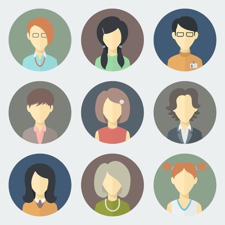 Bunte Kreis weibliche Gesichter Icons in Trendy Flat Style Set Illustration