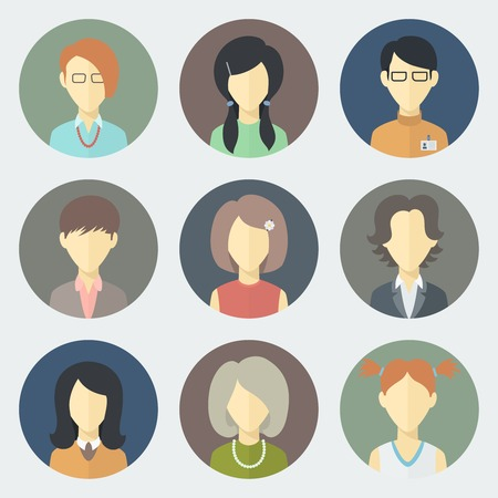 Colorful Female Faces Circle Icons Set in Trendy Flat Style Vector