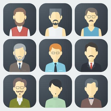 流行のフラット スタイルのカラフルな男性の顔のアプリのアイコンを設定  イラスト・ベクター素材