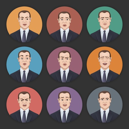 set of businessman: Emotions of a Businessman - Colorful Circle Icons Set with Shadows Illustration
