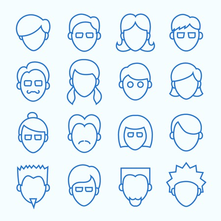 cartoon face: Clean Simple Line Faces  Thin Icons Set included 16 items