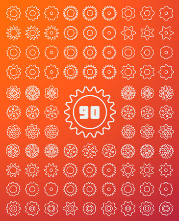 90: Simple Line Gears Icons Set included 90 Vector Elements Illustration