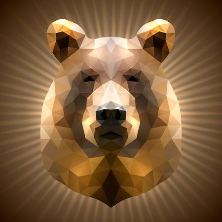 grizzly: Brillant ours en triangulaire de style sur un fond Radiant
