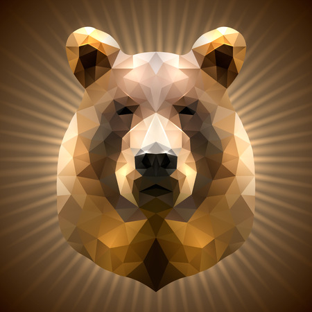 Shining Bear in Triangular Style on a Radiant Background Vector