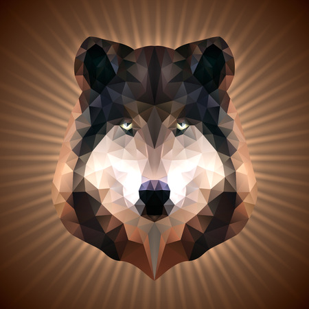 Shining Wolf in Triangular Style on a Radiant Background Vector