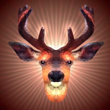 lambent: Shining Deer in Triangular Style on a Radiant Background Illustration