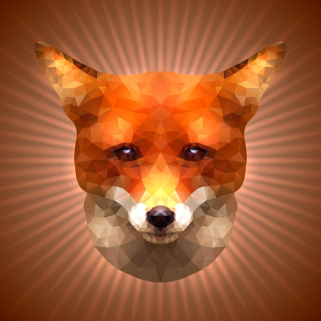 lambent: Shining Fox in Triangular Style on a Radiant Background