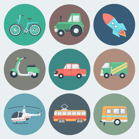 tractor trailer: Transport Circle Icons Set in Trendy Flat Style