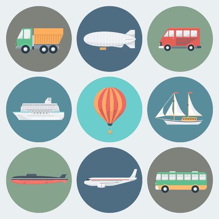 luftschiff: Kreis Transport Icons in Trendy Flat Style Set Illustration