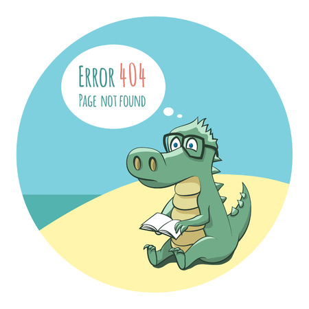 Crocodile With a Book - Funny Error 404 Page Illustration Stock fotó - 28070269