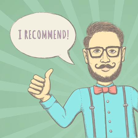 look up: Hipster Recommend This! - Funny Color Sketching Illustration for You Design Illustration