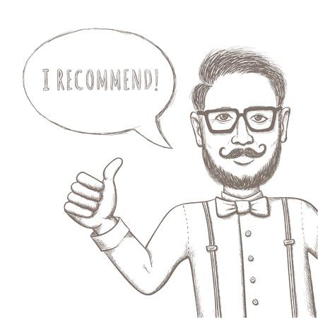 Hipster recomiendo este! - Funny Bocetos Ilustración para usted diseño