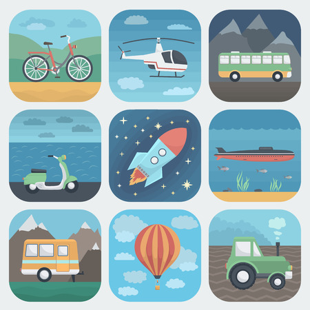 tractor trailer: Detailed Transport App Icons Set in Trendy Flat Style