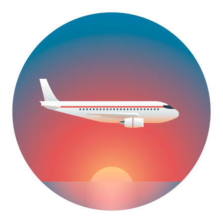 setting sun: Airliner Against the Setting Sun - Circle Detailed Illustration with Gradients Isolated on White Illustration