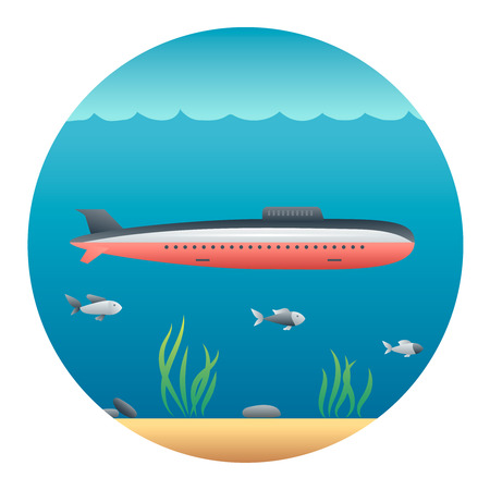 locomotion: Submarine Floating in the Sea - Circle Detailed Illustration with Gradients and Clipping Mask Isolated on White Illustration
