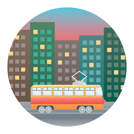 wandering: Tram on the Background of Evening Street - Circle Detailed Illustration with Gradients Isolated on White