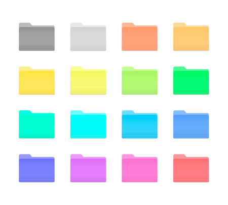 Colorful Bright Folder Icons Set in OS X Yosemite Style. Isolated on white. Vettoriali