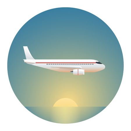 locomotion: A Passenger Plane on a Background of the Rising Sun- Circle Detailed Illustration with Gradients Isolated on White Illustration