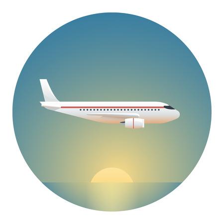 sol naciente: Un avión de pasajeros en un fondo del Rising Sun-Círculo Ilustración detallada con gradientes aislado en blanco Vectores