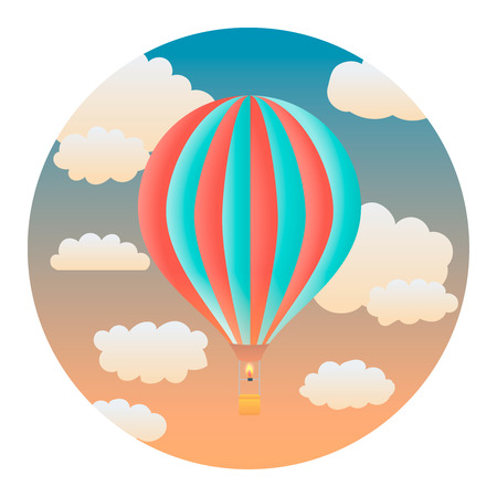 wandering: Balloon in the Evening Sky - Circle Detailed Illustration with Gradients and Clipping Mask Isolated on White