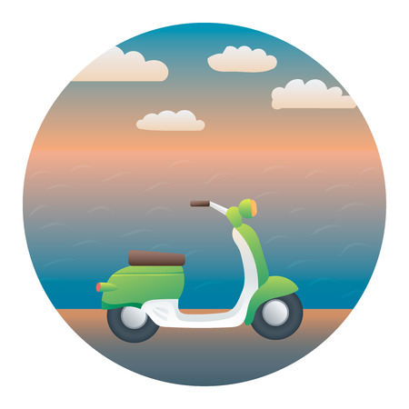 locomotion: Scooter on the Seashore - Circle Detailed Illustration with Gradients and Clipping Mask Isolated on White