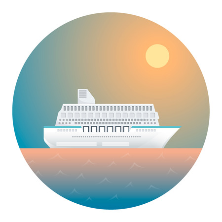 locomotion: Cruise Ship on the Background of Sky and Ocean- Circle Detailed Illustration with Gradients Isolated on White Illustration