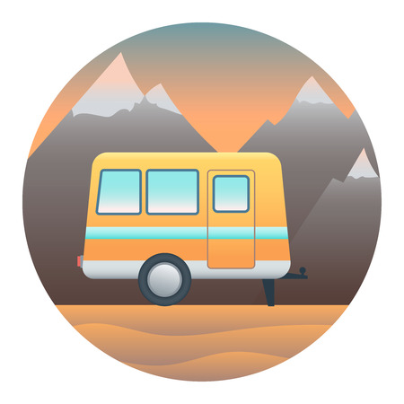 locomotion: Trailer Against the backdrop of Desert Mountains- Circle Detailed Illustration with Gradients and Clipping Mask Isolated on White