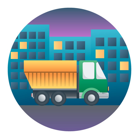 Truck on Background Night City - Circle Detailed Illustration with Gradients Isolated on White Illustration