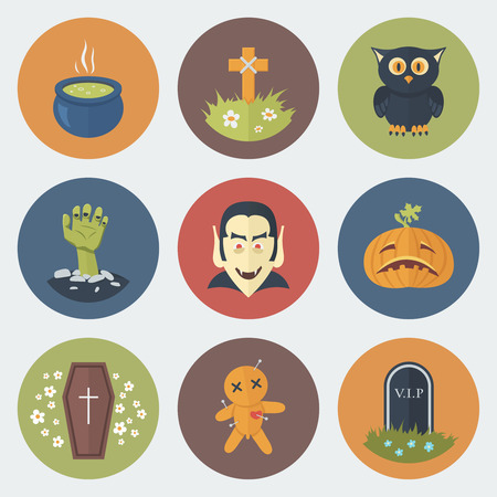 Funny Halloween Circle Icons Set in Flat Style Vector