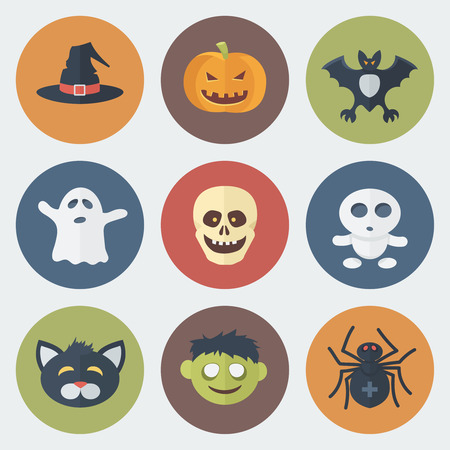 specter: Funny Halloween Circle Icons Set in Flat Style Illustration
