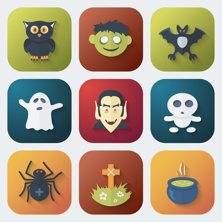 specter: Funny Halloween App Icons Set in Flat Style with Long Shadows
