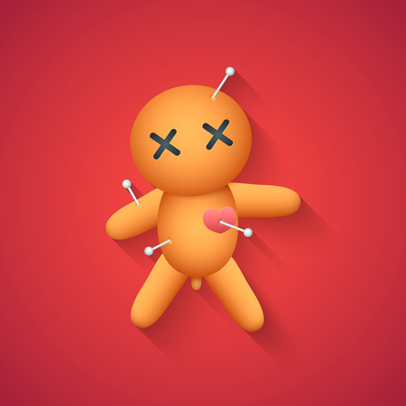 voodoo doll: Voodoo Doll � Funny Halloween Carton Illustration with Long Shadow on Red Background