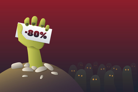 Zombie Hand with Sale Banner - Funny Halloween Carton Illustration Vector