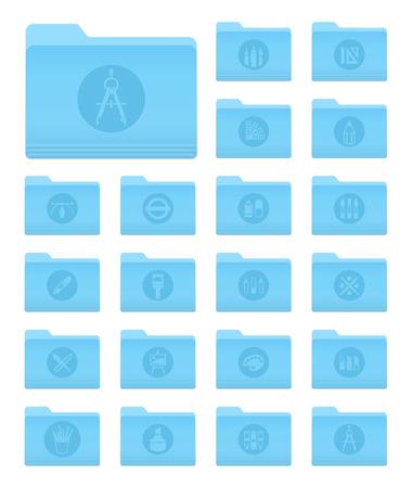 sistema operativo: Conjunto de 20 iconos de carpetas en OS X Yosemite Estilo de Arte y Dise�o del c�rculo Pictogramas Vectores