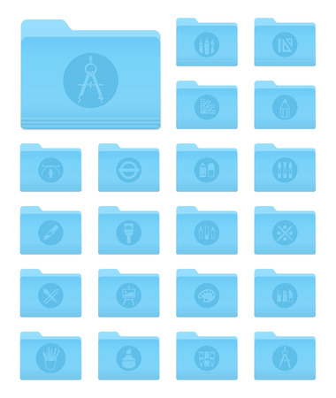 os: Set of 20 Folders Icons in OS X Yosemite Style with Art and Design Circle Pictograms