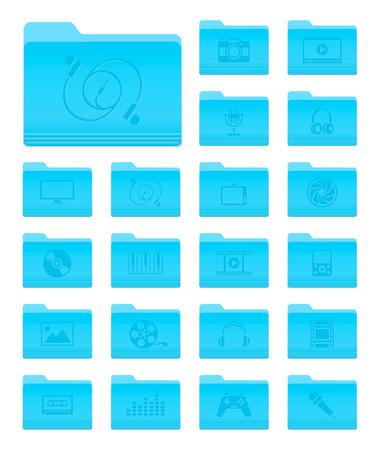 sistema operativo: Conjunto de 20 iconos de carpetas en OS X Yosemite Estilo Multimedia con pictogramas Vectores