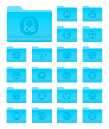 Set of 20 Folders Icons in OS X Yosemite Style with Circle Multimedia Pictograms Illustration