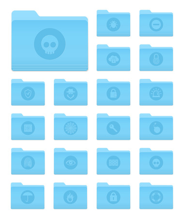 os: Set of 20 Folders Icons in OS X Yosemite Style with Circle Security Pictograms