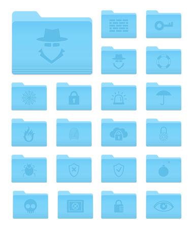 sistema operativo: Conjunto de 20 iconos de carpetas en OS X Yosemite Estilo con Seguridad Pictogramas