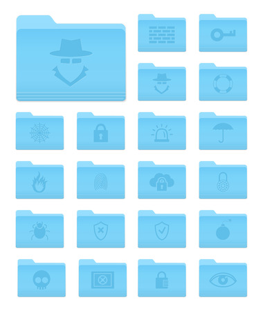 Set of 20 Folders Icons in OS X Yosemite Style with Security Pictograms