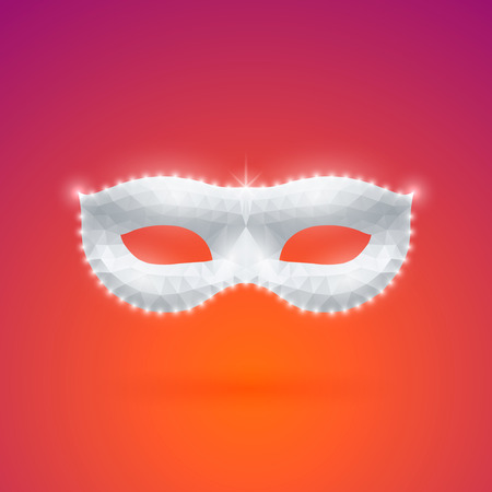sheeny: Triangular Shining Carnival Mask with Shadow on Bright Background