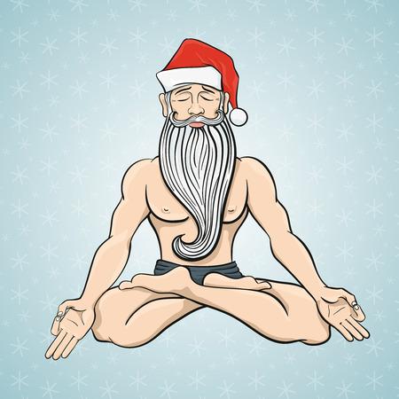 meditation isolated white: Funny Christmas card with meditating in lotus Yogi Santa Claus