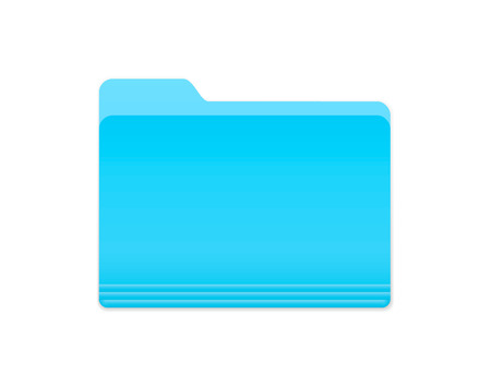 Blue Bright Folder Icon in OS X Yosemite Style. Isolated on white.
