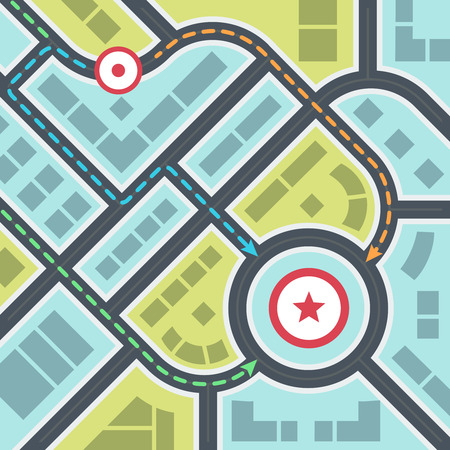 Abstract Simple City Map with Pins and Ways in Flat Style