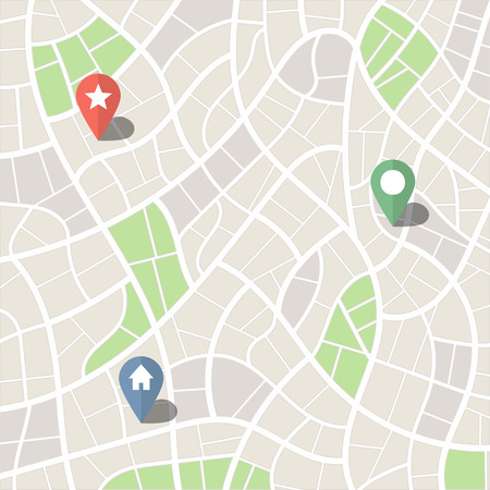 Abstract Simple City Map with Park Zones and Pins Vector